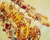 Carnival Photography, Nursery Art, Retro Inspired, Rich Colours, Yellow, Red, Summer, Rides, Magical - Vintage Carnival