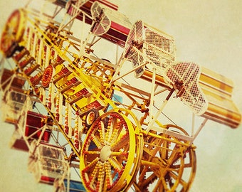 BUY 2 GET 1 FREE Carnival Photography, Nursery Art, Retro Inspired, Rich Colours, Yellow, Red, Summer, Rides, Magical - Vintage Carnival