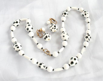 Rockabilly Polka Dot Necklace Earrings Vintage Black White Set Glass Beads