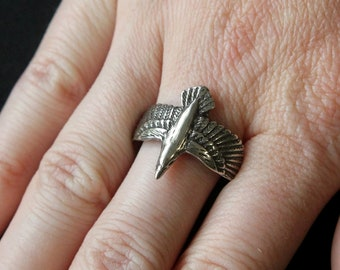Silver Raven Ring Soaring Raven in Flight Ring Size 7 168