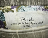 personalize your clutches... set of seven silk name/message tags for bridesmaids, bridal and flower girl clutches