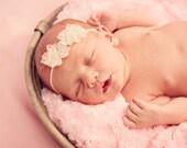 Ivory Baby Headband, Shabby Chic Headband, Baby Photo Prop, Christening Headband, Ivory Skinny Elastic Baby Headband