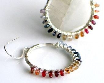 Natural Spinel Gemstone Rainbow Large Artisan Hoop Earrings, Sterling Silver WillOaks Studio Original