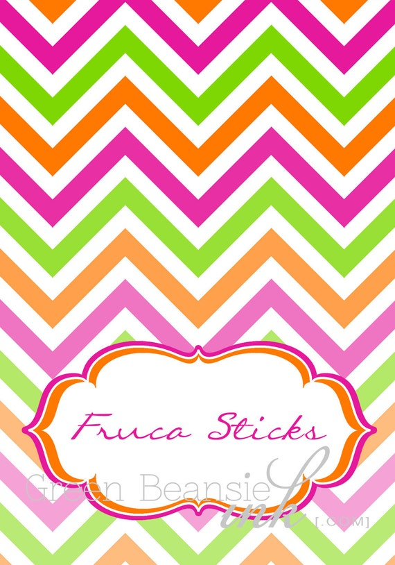 Items Similar To Colorful Chevron Printable Food Labels On