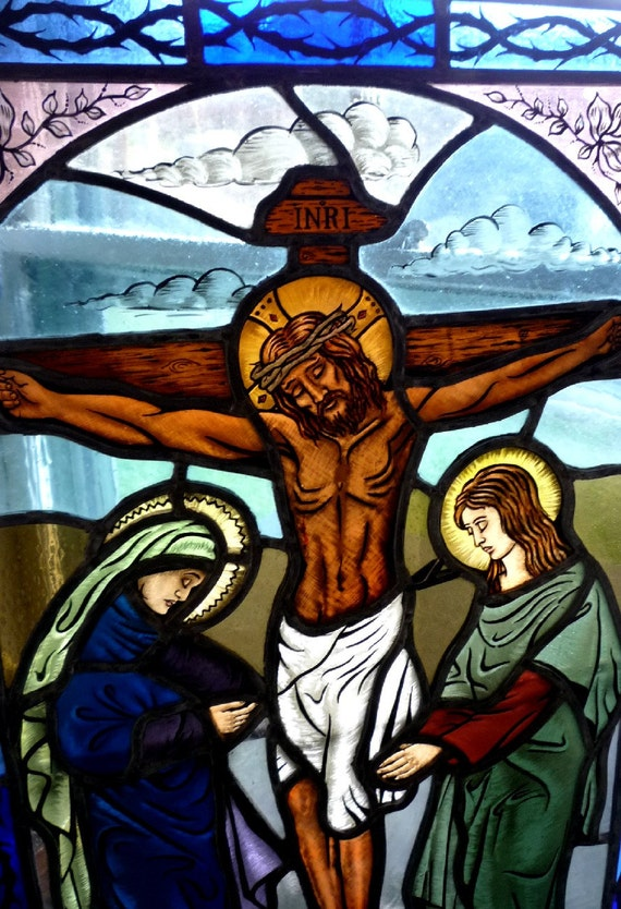 Crucifixion Of Jesus Christ Religious Stained Glass Window