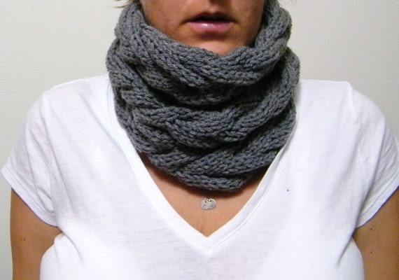 Hand Knitted Cable Cowl Infinity Scarf in Gray