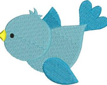 Cute Blue Bird Machine Embroidery Designs 4x4 & 5x7 Instant Download Sale