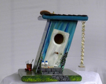 Unique Slanted Birdhouse, Hand Made, Hand Painted Blue with a Swing