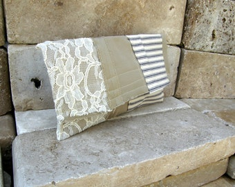 Repurposed Work Pant Clutch with Lace Overlay and 100 Percent Cotton Navy Striped Fabric
