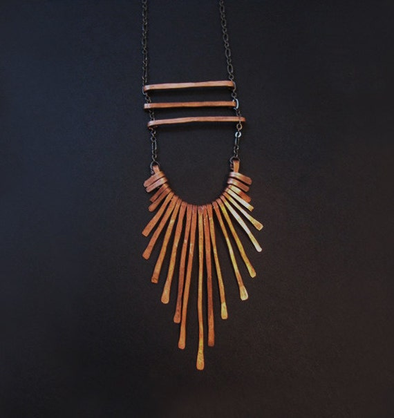 Copper Tribal Necklace . Three bars with fringe . Long Necklace . Tribal Aesthetic . bridesmaids- handmade in Austin, Tx