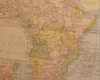 1903 Map Africa - Vintage Antique Map Great for Framing 100 Years Old