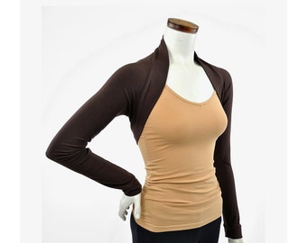 Eco-Friendly Bamboo Shrug Bolero - Chocolate Brown