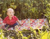 ECO Nap Mat - Preschool Napmat in Red Sock Monkeys with Organic Denim - Non Toxic Modern Toddler Bedding - Portable Nap Pad