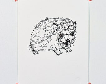 Hedgehog - Letterpress Print