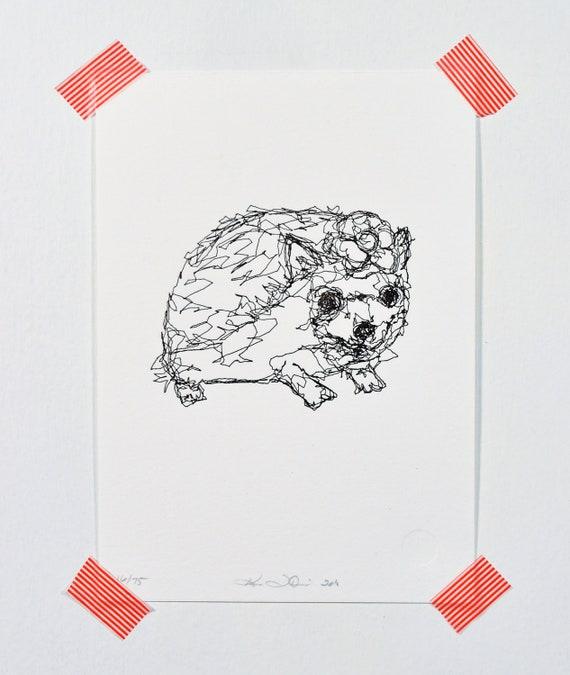 Hedgehog - Letterpress Print
