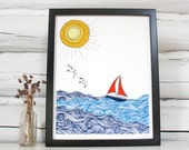 Sailboat print. Nautical decor.