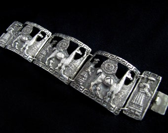 Vintage Peruvian Bracelet with Llama and Woman - Cut Out