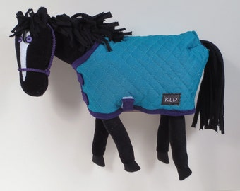 Purple Eyed Pony/ Black/ Blue/Green Quilted Blanket