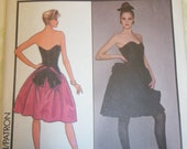 Uncut Pattern Carolina Herrera For Style Evening Gown Prom or Bridesmaid Dress Petticoat Vintage 1980s Size 8