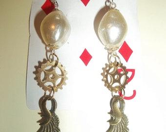 Pearl & Gear Dangle Earrings W/Wing and Sterling Silver Hooks Victorian Steampunk Inspired Wedding Earring Bridal Jewlery