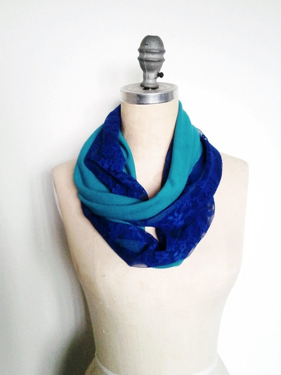 SALE The Infinity Scarf, Blue Lace and Turquoise Knit