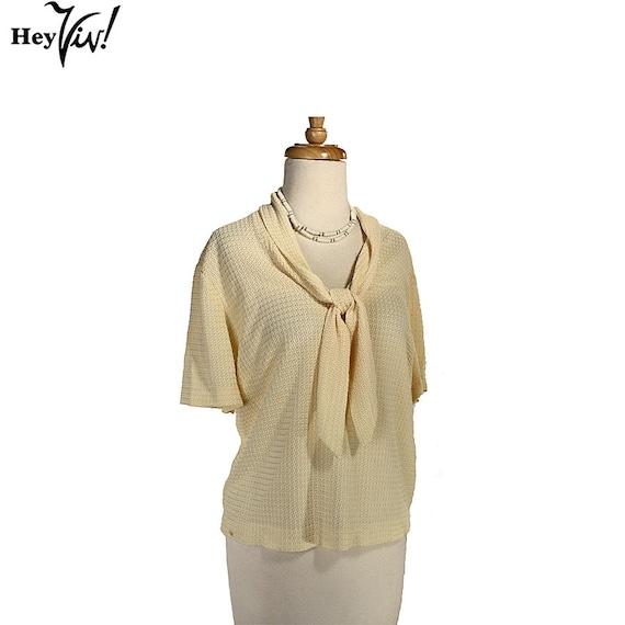 1950s Vanilla Cream Plus Size Vintage Blouse - Elegant Ivory w/ Woven Crochet Texture - size XL