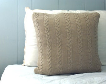 Eco Friendly Cable Knit Pillow Sham in Sand- Ready to Ship OOAK