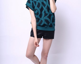 1980s Harrison Vine Lattice Sweater Shell Oversized Fits All