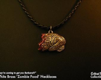 Half Eaten Brain Necklace - silver zombie jewelry zombie horror geek