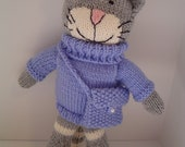 knitted  Cat in Blue jumper with purse