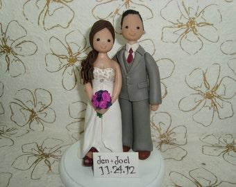 Bride and Groom Custom Made Wedding Cake Topper