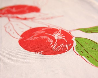 Hand-printed Tomato Vine Organic Cotton Table Runner XLarge