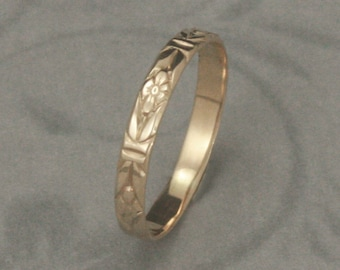 Romance in the Garden Wedding Band or Stacking Ring--Solid 14K Yellow Gold Floral Patterned Ring