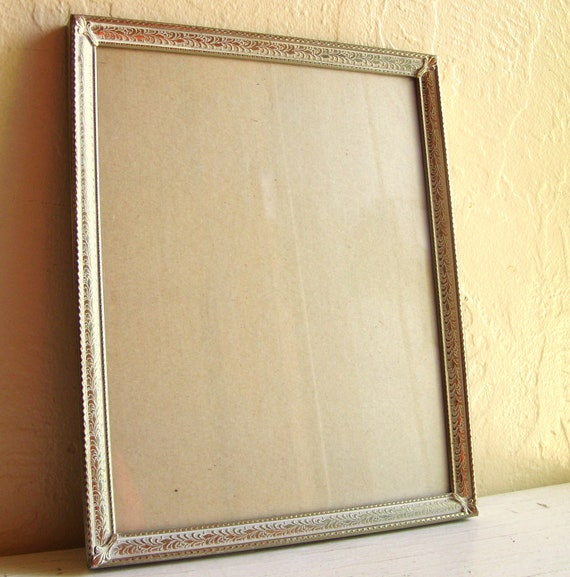 RESERVED Listing - 8x10 Gold and White Vintage Metal Picture Frame
