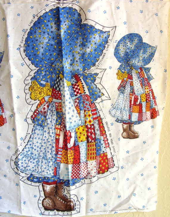 Vintage Holly Hobbie Fabric Panel Pillow Cut-Out with Extra