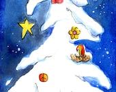 Sweet Holiday Watercolor Blank Card Snowy Tree Bird