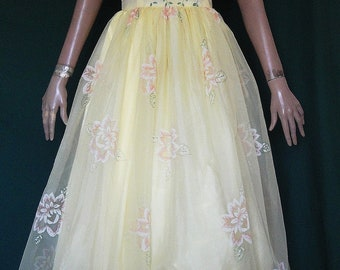 Gorgeous Vintage Yellow Flocked Flowers Nylon Long Prom Party Dress B38