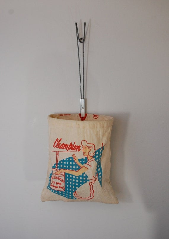 Vintage Champion Clothespin Bag With Cool Plastic Pins Made In