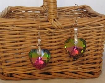 Huge sparkle HEART earrings