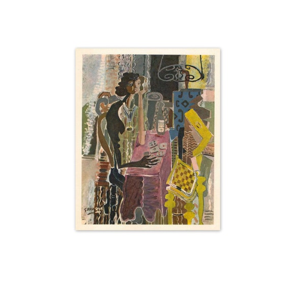 Vintage 1940s Braque French Fine Art Print. The Game of Patience, 1942. Purple, Black, Yellow. (No. 311)