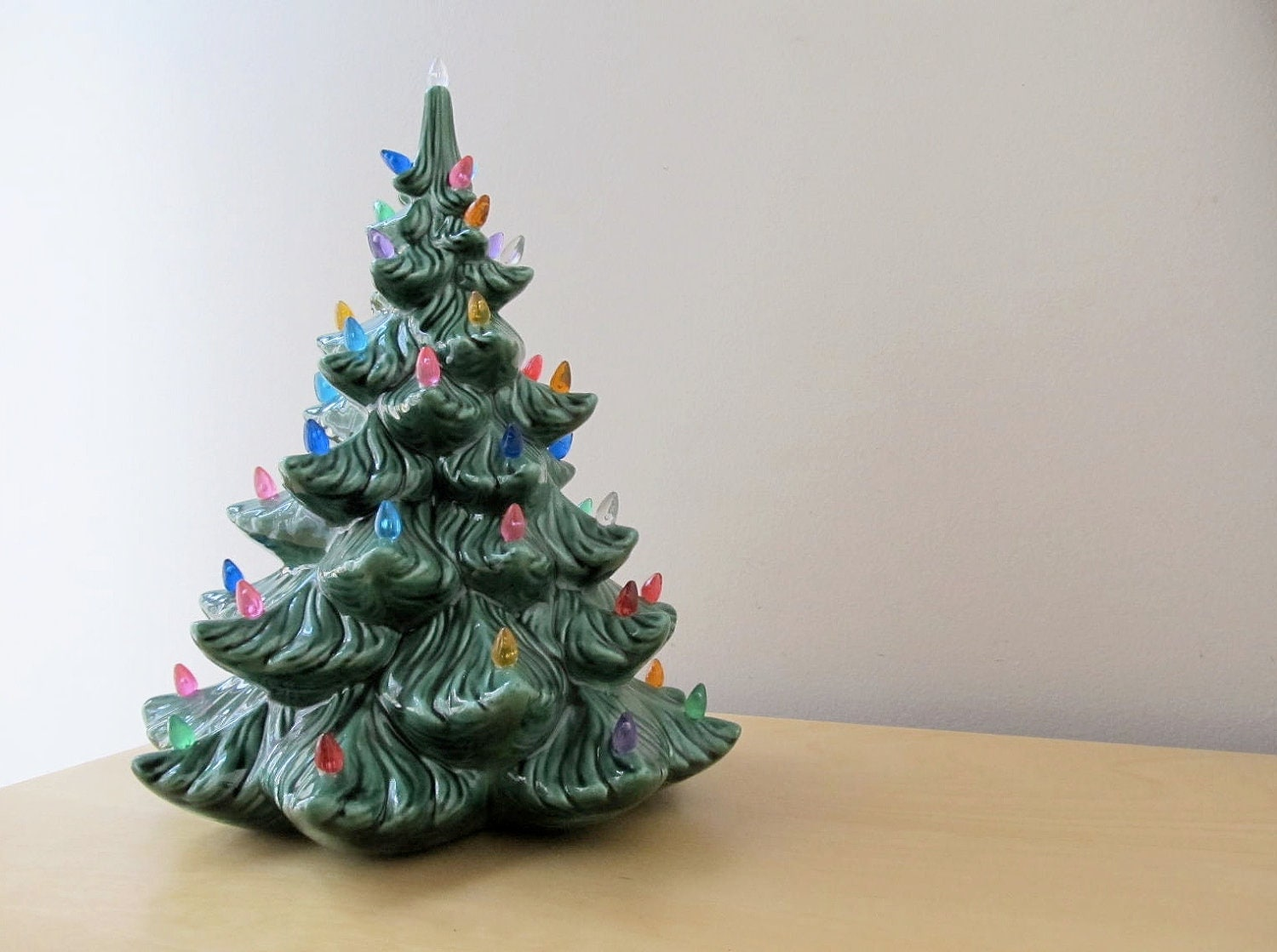 Vintage ceramic christmas tree with lights blue by ionesattic