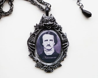 Edgar Allan Poe Nevermore Necklace Gothic Jewelry Black Raven