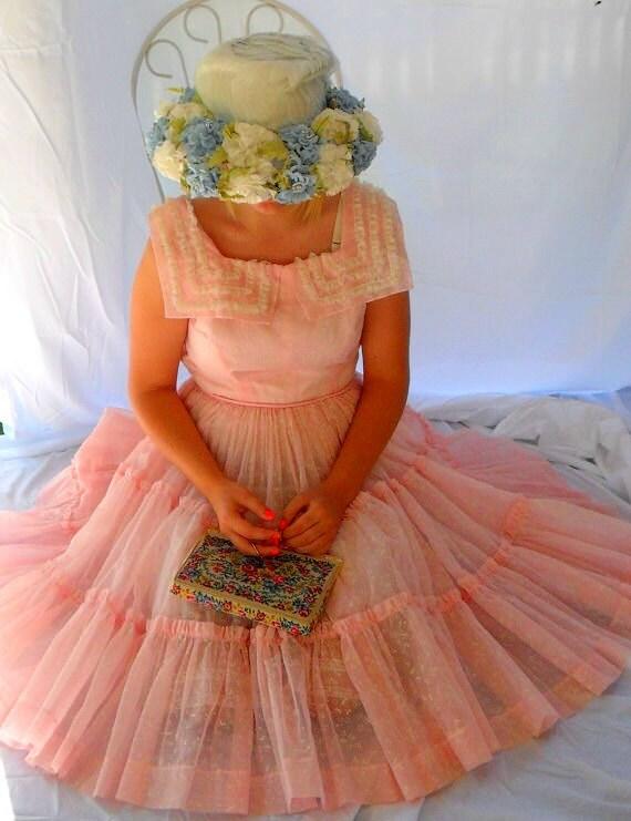 RESERVE for Jenny thru 12/26 Pink Crinoline Dress Vintage 50s Rockabilly Party Dress 1950s