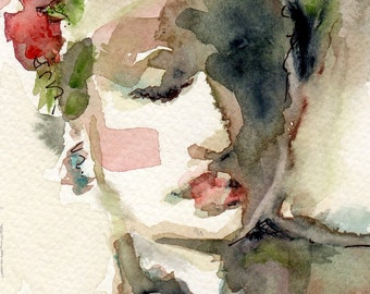 Mae's Flowers Watercolor Painting Woman's Face in Olive Greens and Reds Giclee Print