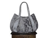 "Purse & bag : Large Hobo - grey aluminum light gray velvet scroll winter fashion - ""SILVER MARTINI"" handmade"