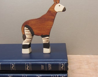 Wooden Okapi Toy Waldorf natural