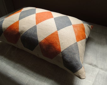 Gray and orange geometric argyle harlequin on wheat linen hand block printed colorful home decor decorative pillow case