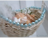 Miniature Seaside Basket - Christmas Ornament Beaded Seashell Decoration
