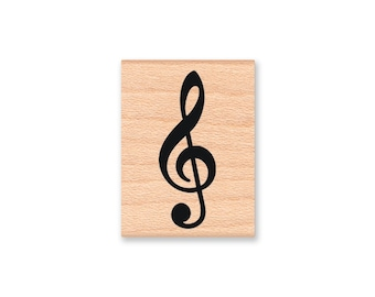 TREBLE CLEF  - wood mounted rubber stamp -(MCRS 22-04)