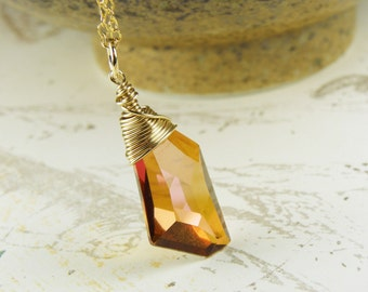 Amber Crystal Pendant, Copper Swarovski Crystal Necklace, Rust, Gold Filled, Modern Geometric Pendant, Handmade Jewelry, Fall Fashion